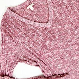 Sonoma Pullover Sweater Red/White Ribbed V-neck